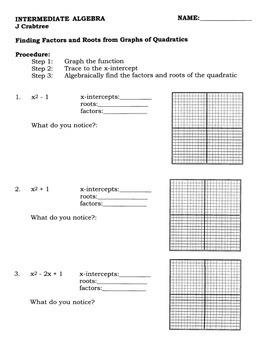 Algebra: Graphing Calculator: Finding Factors & Roots Usin