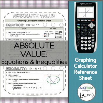 Graphing Calculator Reference Sheet: Absolute Value