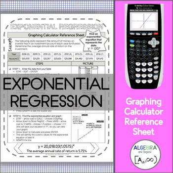 Graphing Calculator Reference Sheet: Exponential Regression
