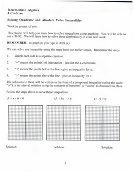 Algebra: Graphing Calculator: Solving Quadratic & Absolute