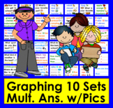 Graphing for Pocket Chart-10 Qs & Answers w/Graphics-Set 1 -CCSS