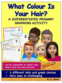 Graphing - Children's Hair Color Graph - 4 pages (Differen
