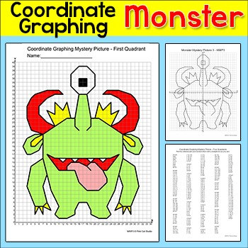 Coordinate Graphing Ordered Pairs Mystery Picture - Monster