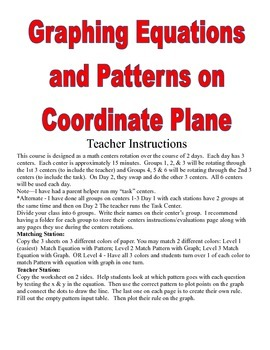 Graphing Equations & Patterns on Coordinate Plane Quad 1 C