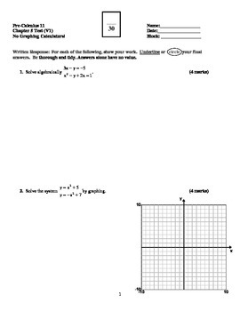 Graphing Inequalities & Systems of Equations Test with FUL