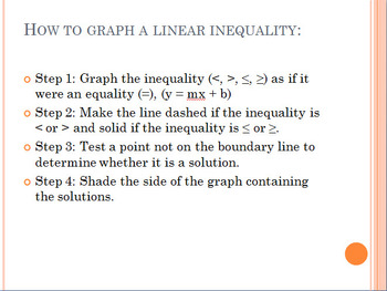 Graphing Linear Equalities in Two Variables