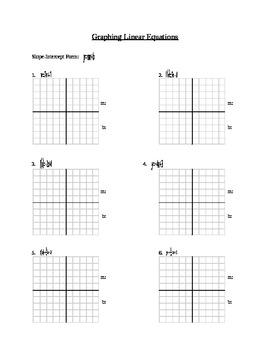 Graphing Linear Equations WS