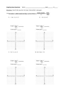 Graphing Linear Equations ~ Worksheet and Quick Quiz