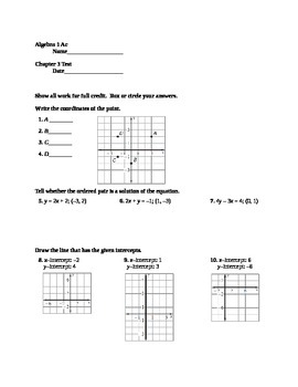Graphing Linear Equations and Functions Test