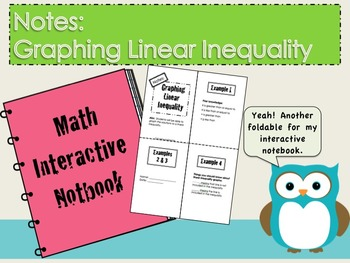 Graphing Linear Inequality foldable Notes for Interactive