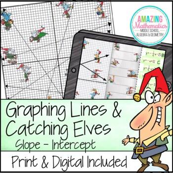 Graphing Slope Intercept Form Lines - Christmas Algebra Activity