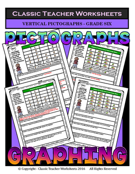 Graphing - Pictographs (Vertical) - Grade Six - Worksheets/Test