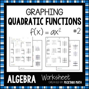 Graphing Quadratic Functions f(x)=ax^2 ALGEBRA Worksheet