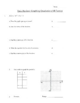Graphing Quadratics (All Forms) WS