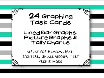 Graphing Task Cards : (24 Pack) CCSS Aligned with 3rd Grad
