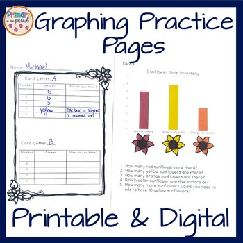 Graphing Task Pages- Printable and Digital- Sunflower and