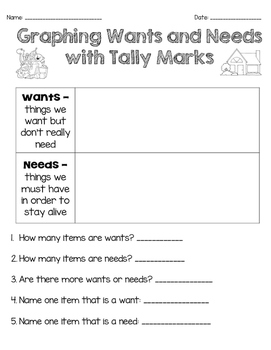 Graphing Wants and Needs using Tally Marks
