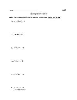 Graphing and Factoring Quadratics Quiz