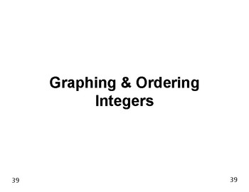 Num & Ops 06: Graphing and Ordering Integers