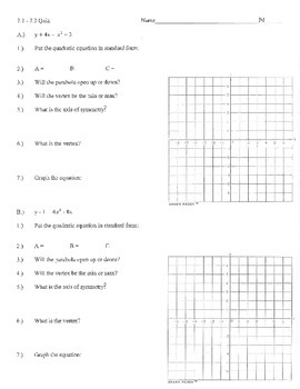 Graphing quadratics standard form review practice a b c up