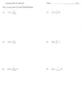 Graphing rational functions activity domain range asymptot
