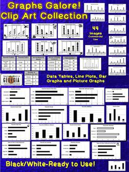 Graphs Galore! Clip Art - Line Plot, Bar Graph, Data Table