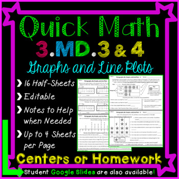 Graphs Homework or Graphs Math Centers for 3rd Grade: 3.MD