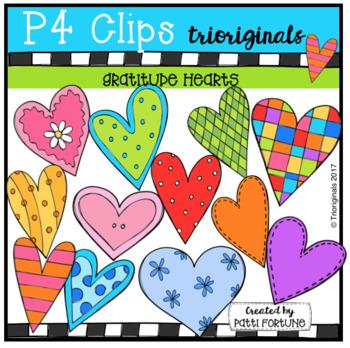 Gratitude Hearts {P4 Clips Trioriginals Digital Clip Art}
