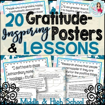 Gratitude Posters & CCSS ELA Lessons Middle & High School,