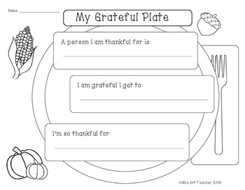Free Thanksgiving Writing Prompt. My Grateful Plate