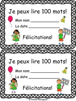 Gratuit Certificat 100 mots fréquents, 100e jour de classe