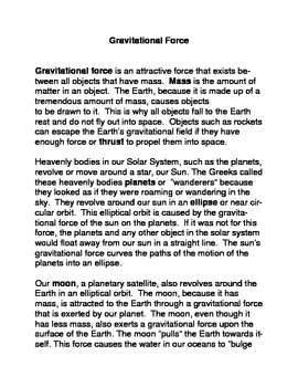 Gravitational Force Common Core Reading and Writing Activities