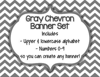 Gray Chevron Alphabet Banner Set (upper & lowercase, numbers 0-9)