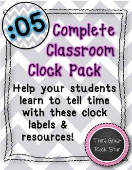Classroom Clock Pack {Gray Chevron Theme} *Back to School*