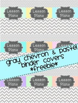 Gray Chevron & Pastel Binder Covers {FREEBIE}
