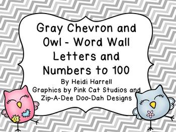 Gray Chevron and Adorable Owl Word Wall Letters and Number