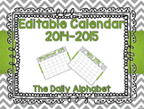 Gray Chevron w/ Green Accents Editable Calendar 2014-2015