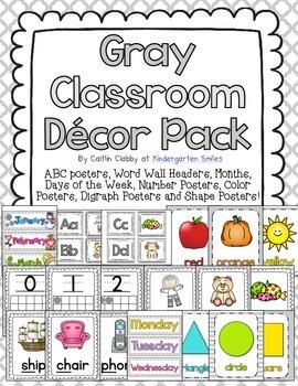 Gray Classroom Decor Pack