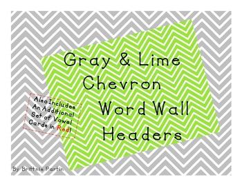 Gray & Lime Chevron Word Wall Headers