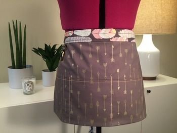 Classroom Teacher Utility Apron: Gray, Gold, Peach Feather