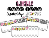 Gray Polka Dot Desk/Name Tags (Editable)