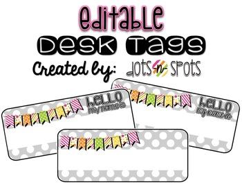 Gray Polka Dot Desk/Name Tags (Editable)