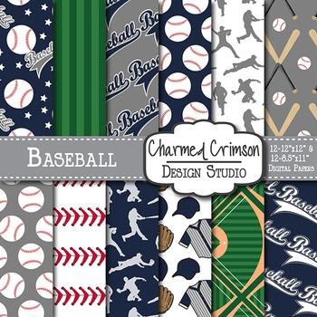 Gray and Navy Blue Baseball Digital Paper 1475