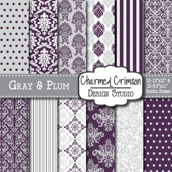 Gray and Purple Damask Digital Paper 1324