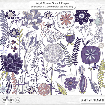 Gray and Purple Modern Flower ClipArt, PNG Lavender Floral