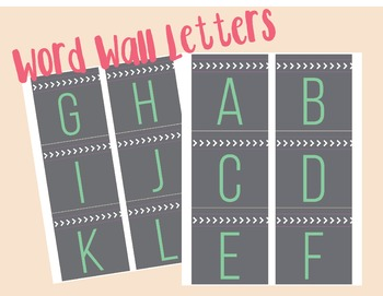 Gray and Teal Word Wall Letters