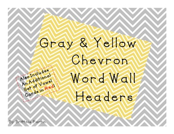 Gray & Yellow Chevron Word Wall Headers
