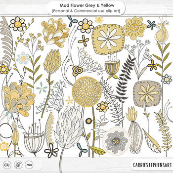 Gray and Yellow Modern Flower ClipArt, PNG Floral Clip Art