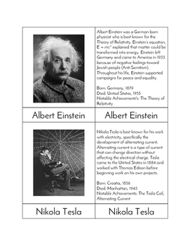 Great American Scientists - Three/Four Part Cards