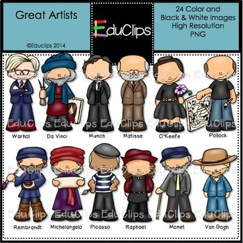 Great Artists Clip Art Bundle {Educlips Clipart}